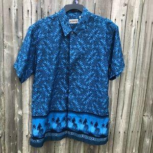 3/$15 Intrinsic Hawaiian tribal button down shirt